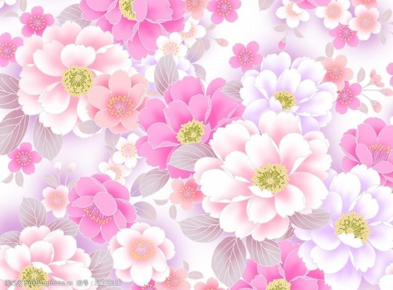大幅背景花团锦簇粉色身份淡粉色背景素材