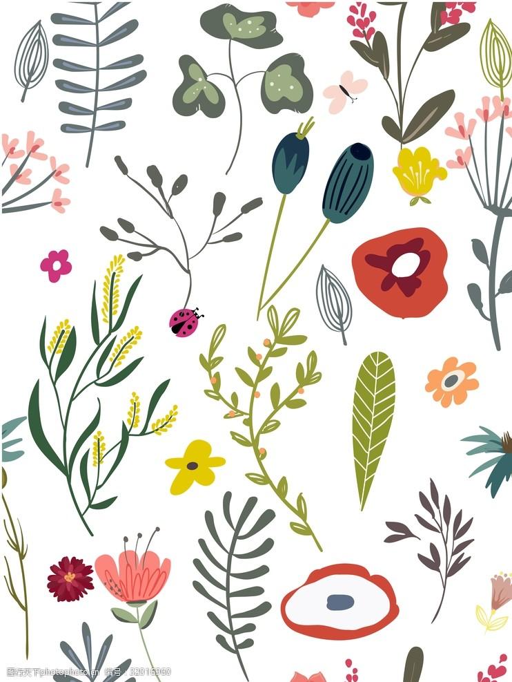网页设计元素植物平铺素材