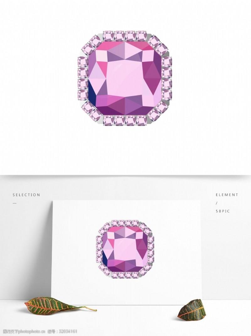 钻石切割紫色钻石珠宝吊坠戒指矢量