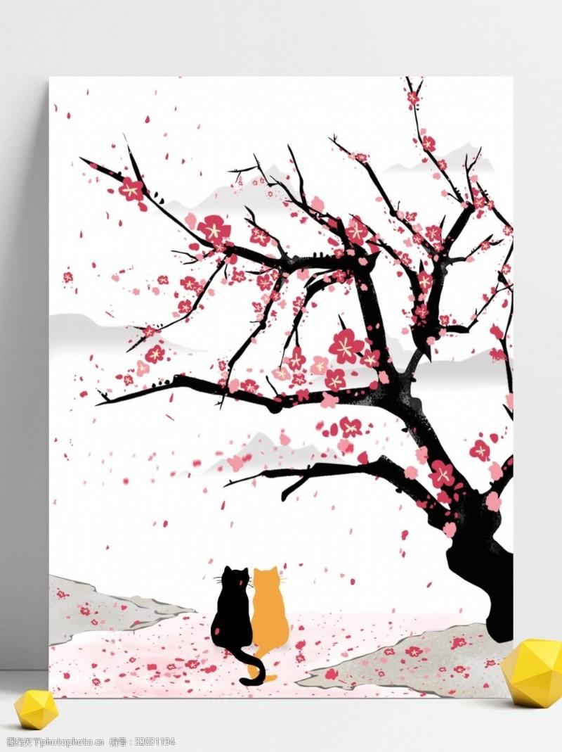 落樱缤纷古风唯美樱花浪漫春天猫咪赏花水墨桃花背景