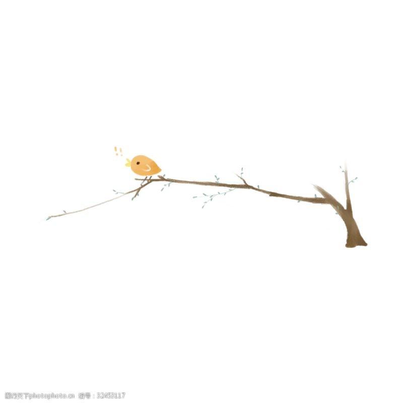 小鸟插图小鸟树枝分割线插画