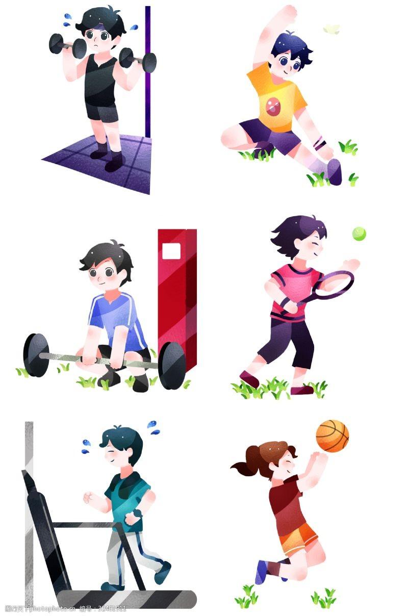 健身体操健身运动合集插画