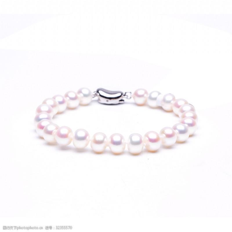 时尚韩式乳白色银白珍珠手链摄影图7