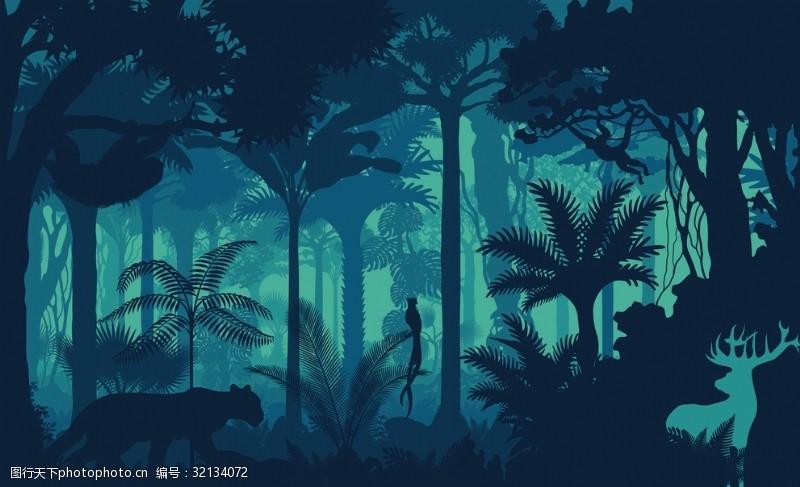 矢量概念奇幻森林