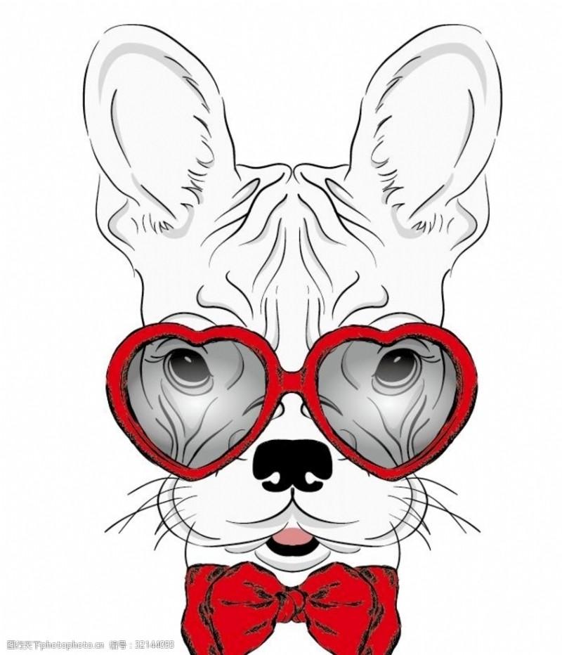 眼镜狗小狗线条