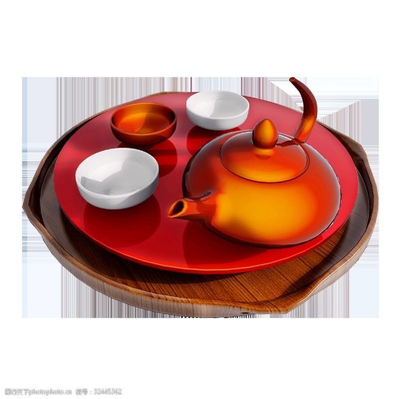 彩釉质感茶具png图
