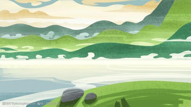 手绘卡通河流植物背景