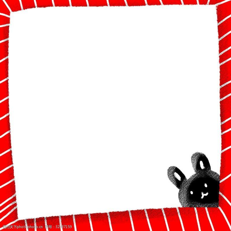 红黑小兔子实用卡通边框PNG图片