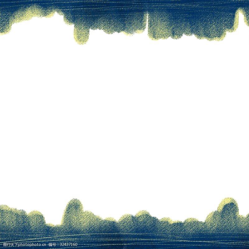 宏伟群山剪影实用卡通边框PNG图片