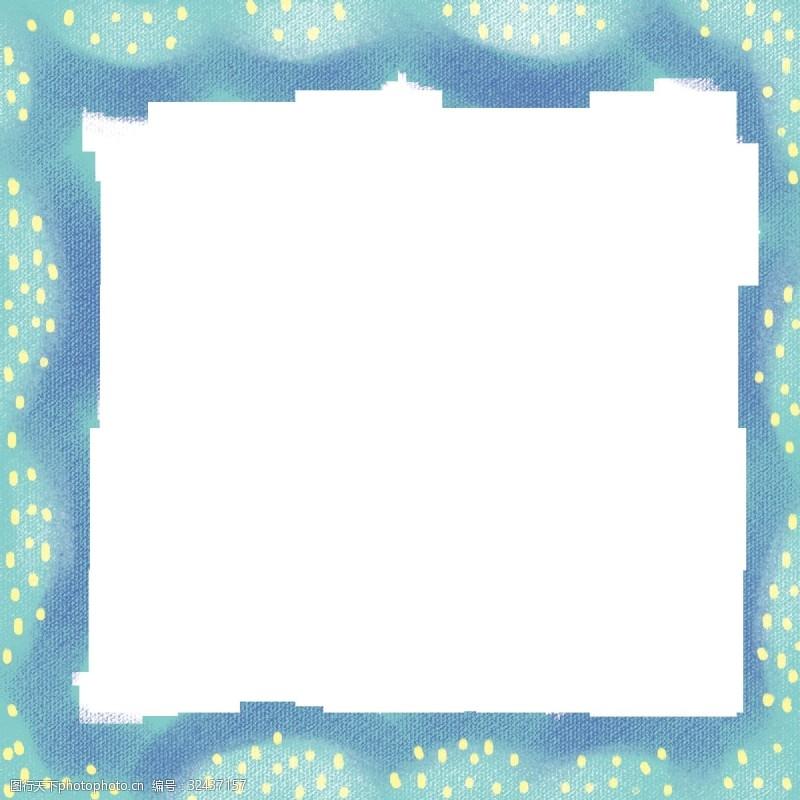 蓝色点点实用卡通边框PNG图片