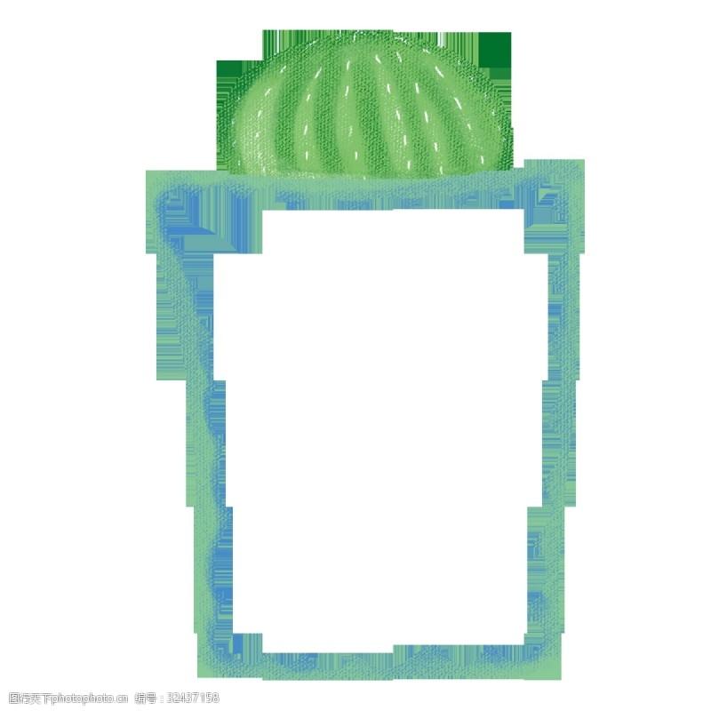 绿色仙人球实用卡通边框PNG图片