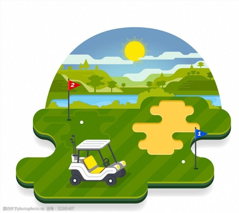 高尔夫车创意高尔夫球场风景