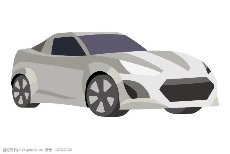 品牌轿车卡通时尚银灰色轿车