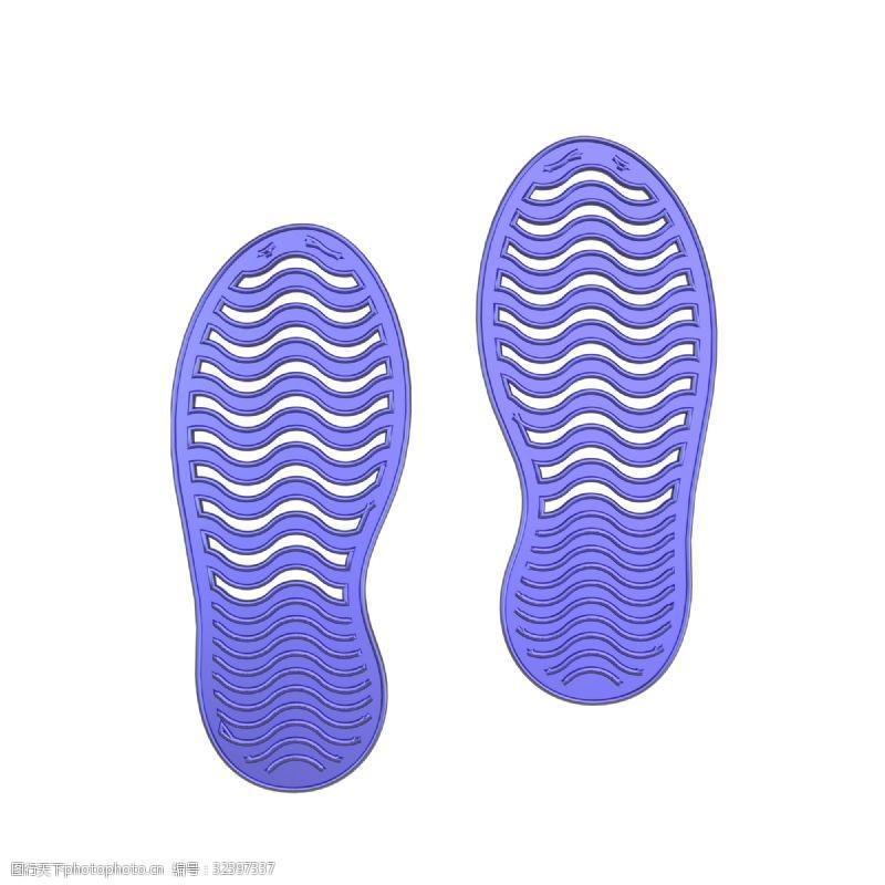 蓝色脚印C4D蓝色金属质感立体脚印装饰