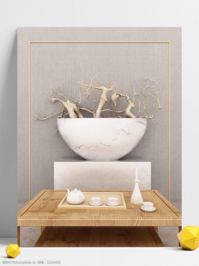 原创写实清新古典茶道文化边框3D创意背景