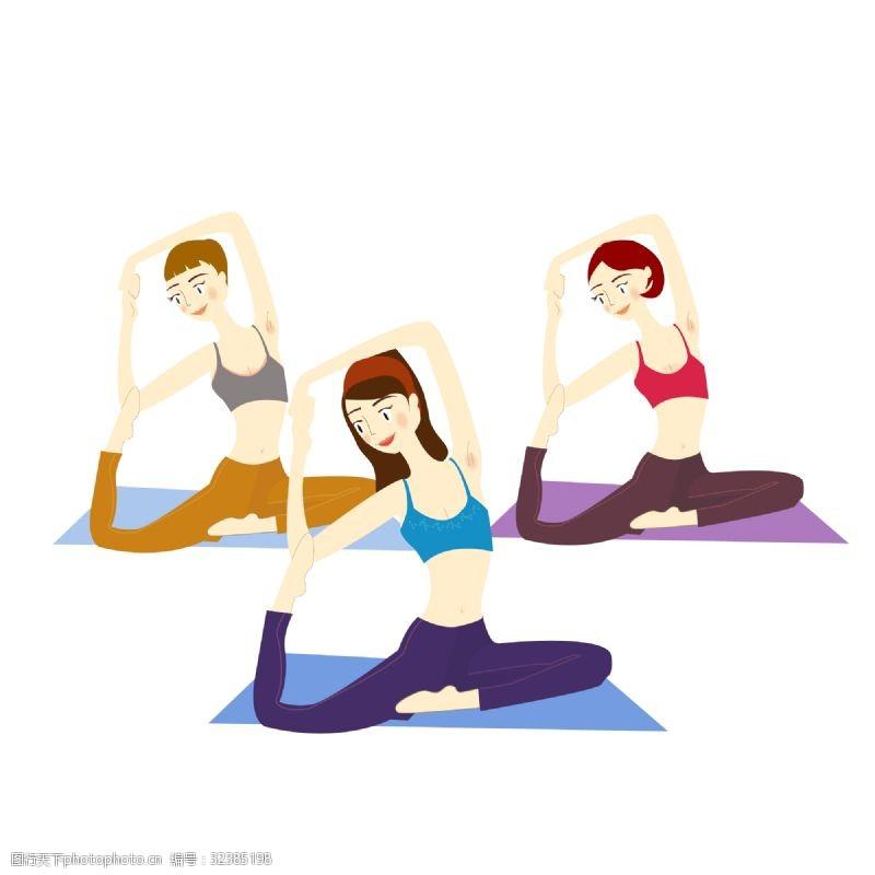 女人矢量图瑜伽锻炼身体的苗条女人
