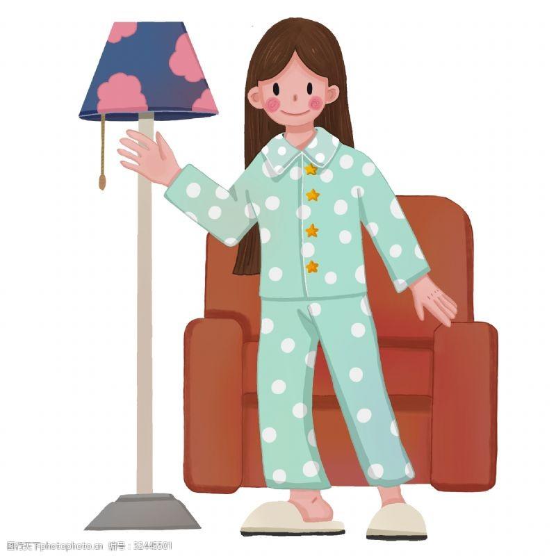 穿睡衣女孩小女孩关灯节能节约
