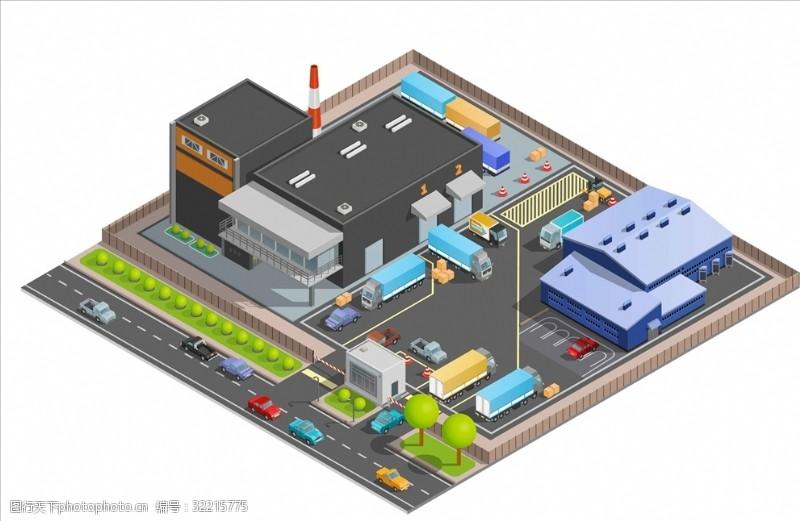手绘货车城市建筑街景