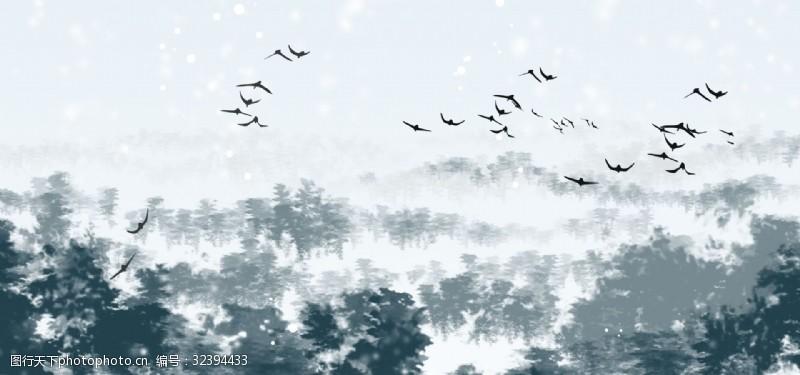 个性墙纸极简北欧宜家风格飞鸟松树林云雾电视背景墙