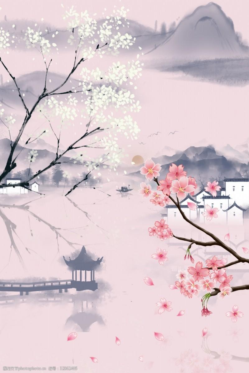 畅享自由粉色中国风杏花旅行海报