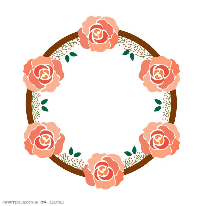 公众号用图粉色花朵边框PNG