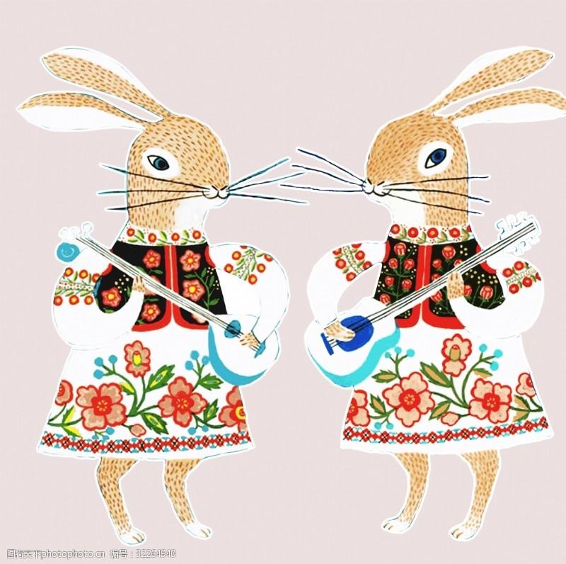 民族花边小兔子卡通图案