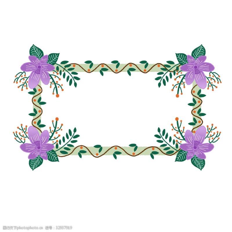 公众号用图紫色花朵边框PNG