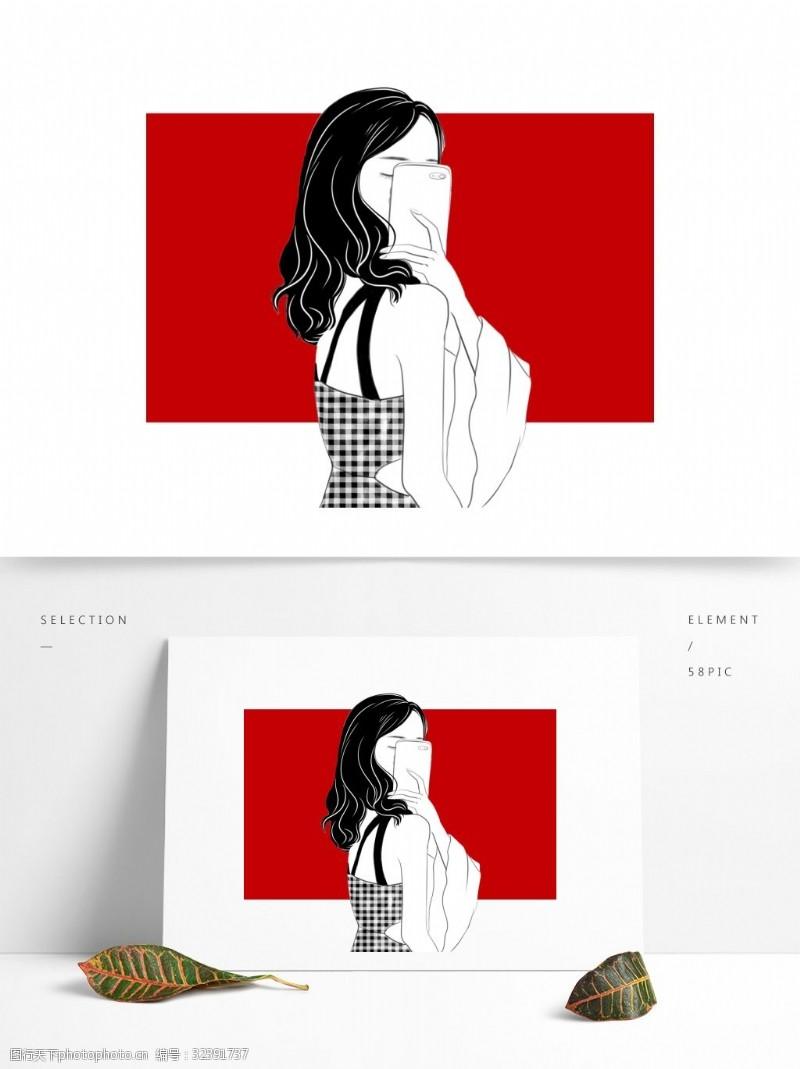 黑白红二次元人物女孩酷炫头像卷发自拍性感露肩