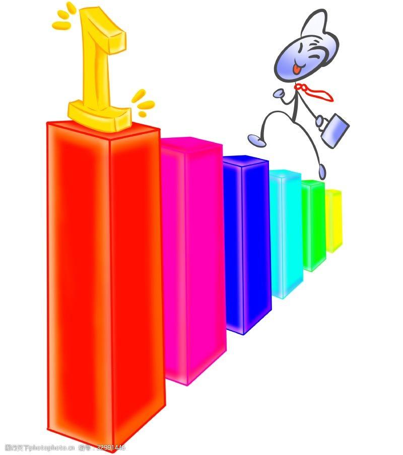 卡通梯子彩色柱状梯子插图