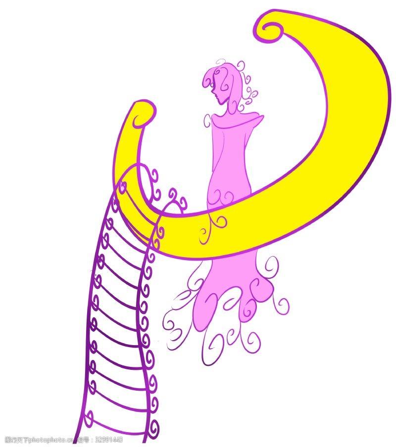 卡通梯子紫色梯子和月亮插画