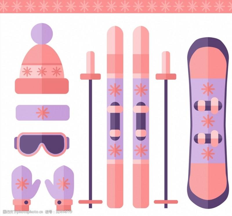 滑雪板冬季运动7款粉色滑雪装备