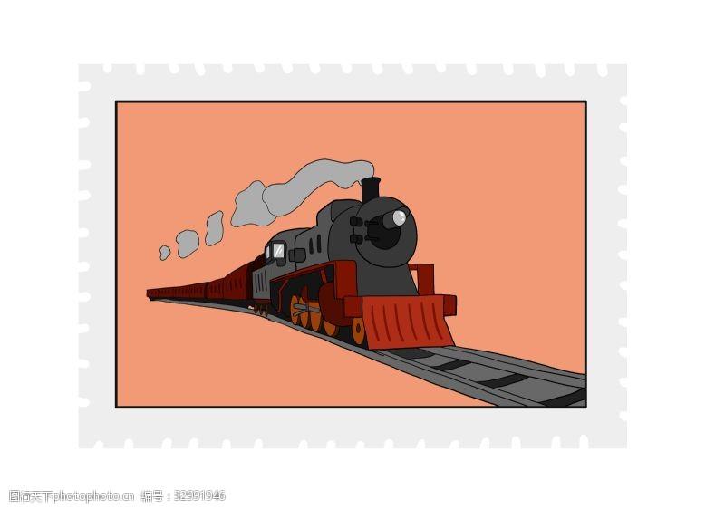 邮票贴图时尚火车邮票贴纸