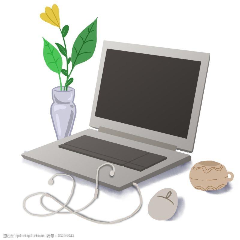 银白手绘工作笔记本鼠标耳机办公桌