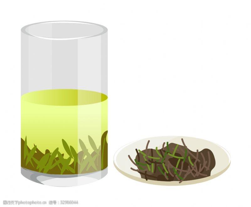 干茶叶一杯茶水和一盘茶叶