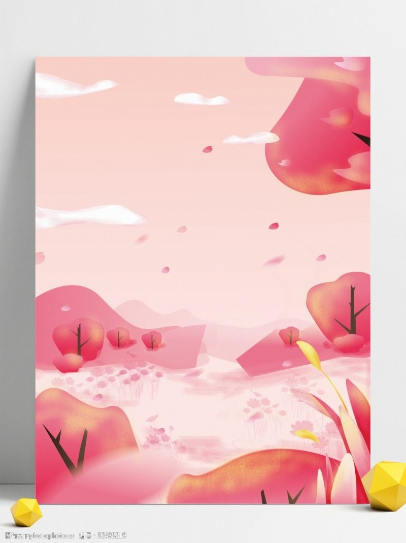 樱花广告粉色春季树林背景设计