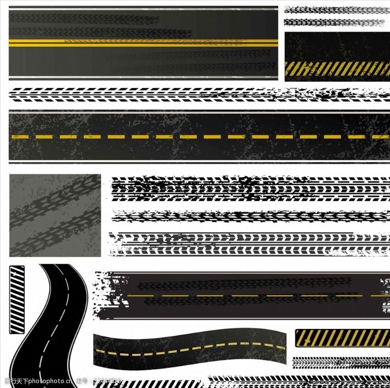 公路标轮胎纹理