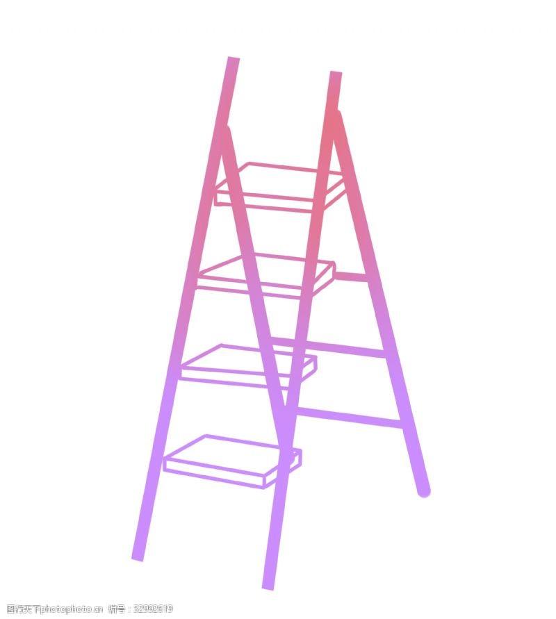 铝合金梯子折叠家用人字梯插画