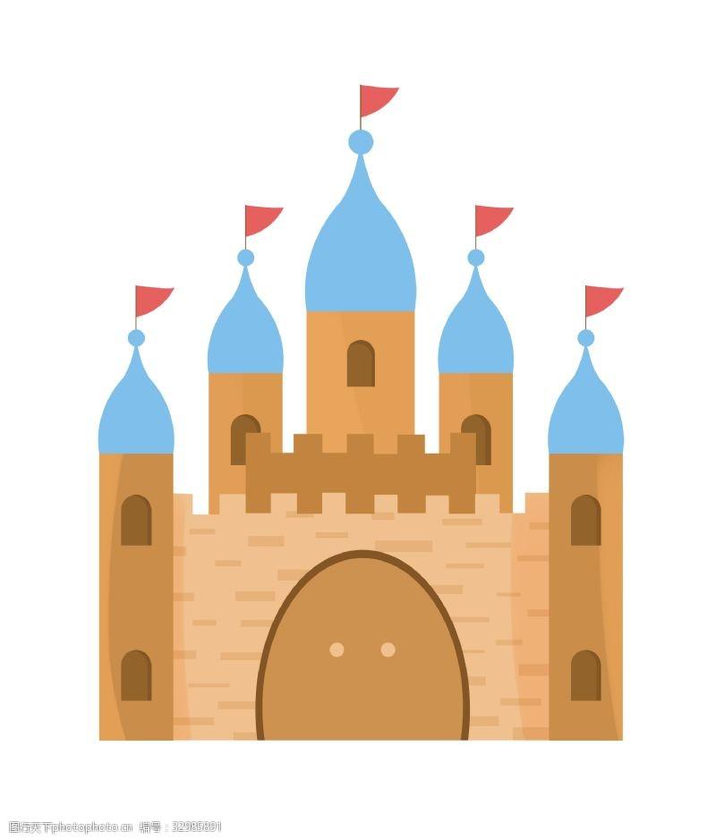 红球插着红旗的城堡插画