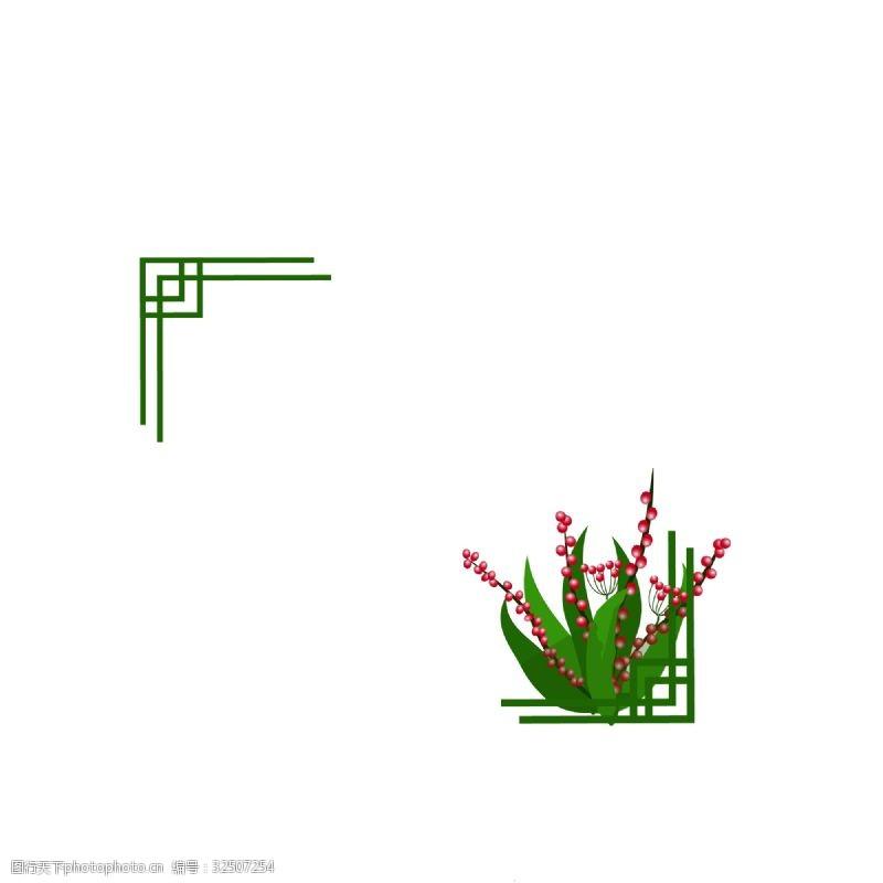 红球小清新绿色系边框