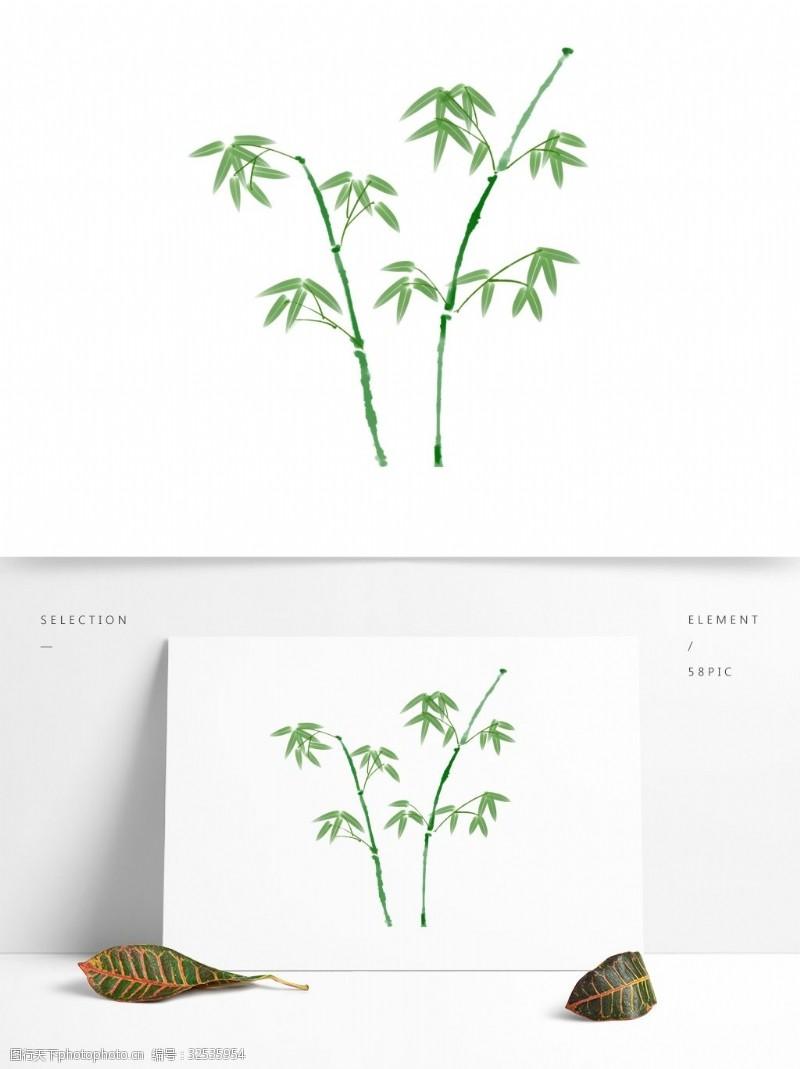 竹子的图案水彩植物绿色竹子装饰图案