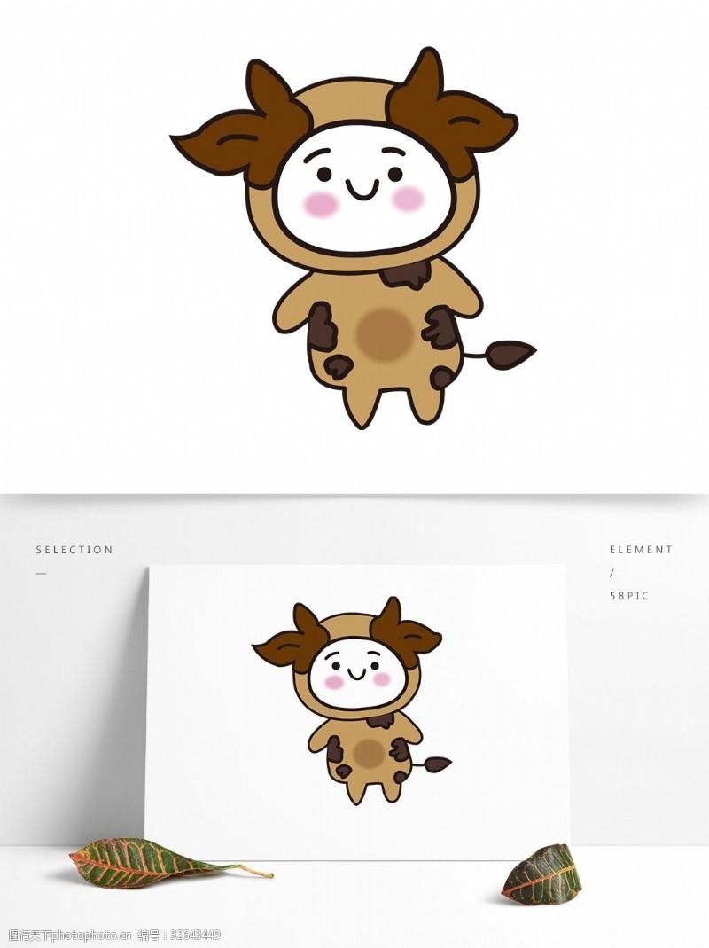 卡通矢量图案动物牛