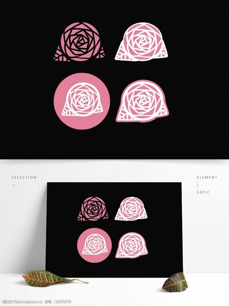扁平简约文艺粉红色卡通玫瑰花