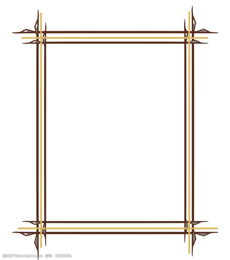 木质边框卡通插画
