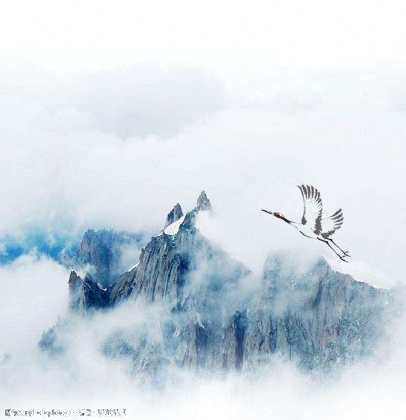重九节仙鹤山峦重阳背景海报