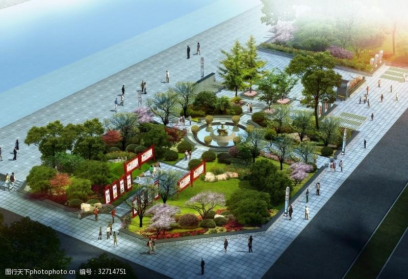 喷泉设计景观鸟瞰效果图