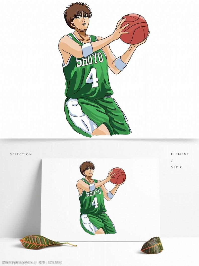 卡通矢量图案原创灌篮高手卡通人物矢量篮球