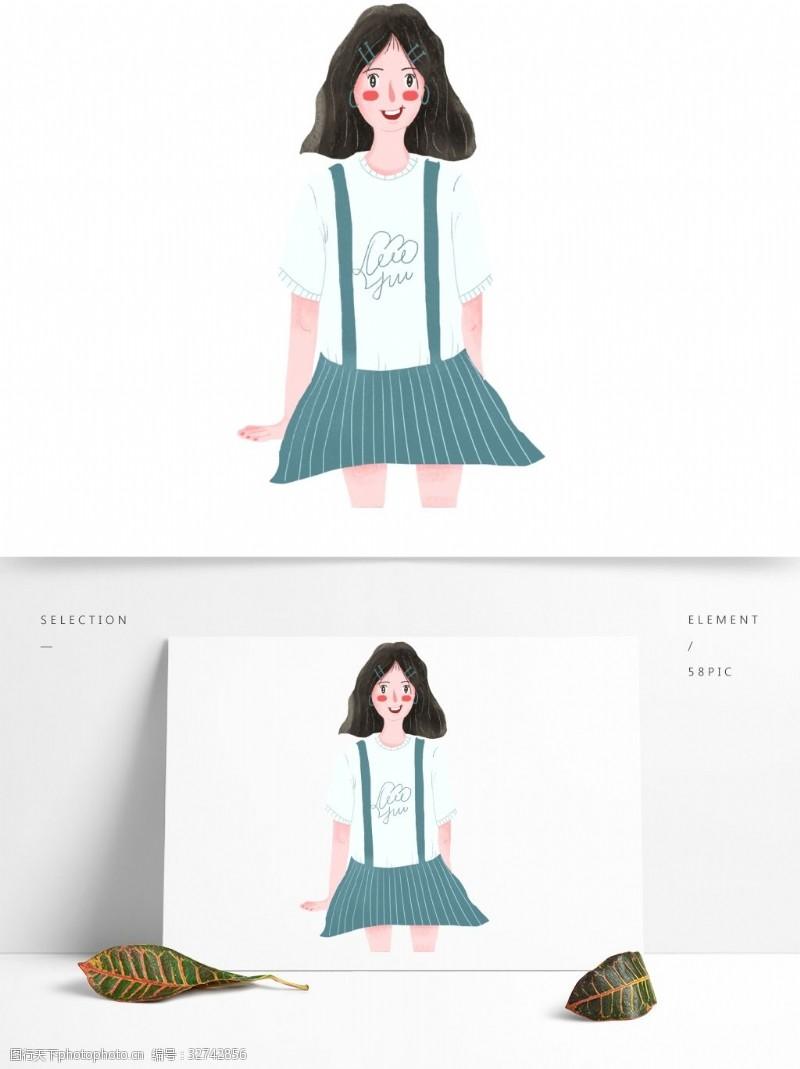 青春美女卡通可爱穿背带裙的女孩子