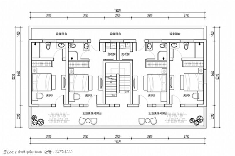 室内设计平面图酒店客房层CAD平面方案