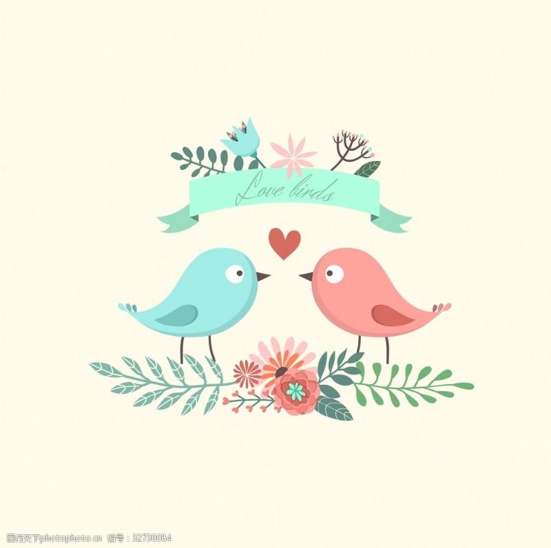 可爱的小鸟插图
