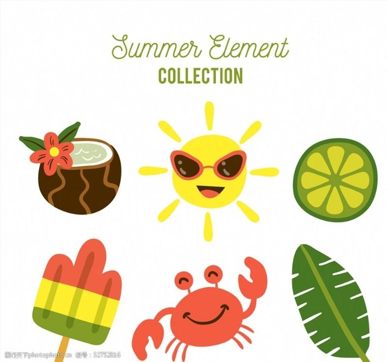 彩色夏季元素背景